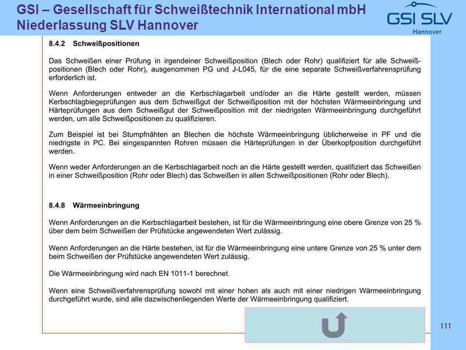 SLVHannoverSLVHannover GSI – Gesellschaft für Schweißtechnik International mbH Niederlassung SLV Hannover 111