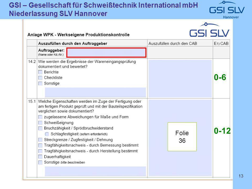 SLVHannoverSLVHannover GSI – Gesellschaft für Schweißtechnik International mbH Niederlassung SLV Hannover 13 Folie 36 0-6 0-12