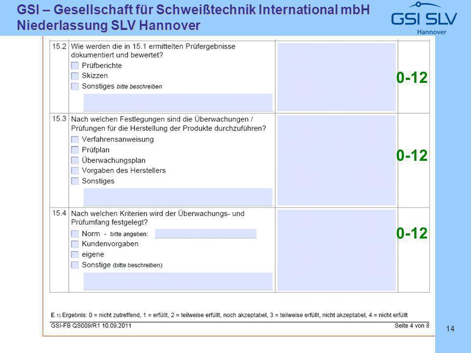 SLVHannoverSLVHannover GSI – Gesellschaft für Schweißtechnik International mbH Niederlassung SLV Hannover 14 0-12