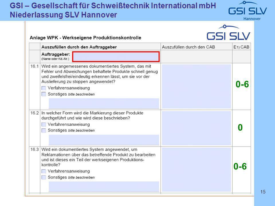 SLVHannoverSLVHannover GSI – Gesellschaft für Schweißtechnik International mbH Niederlassung SLV Hannover 15 0-6 0