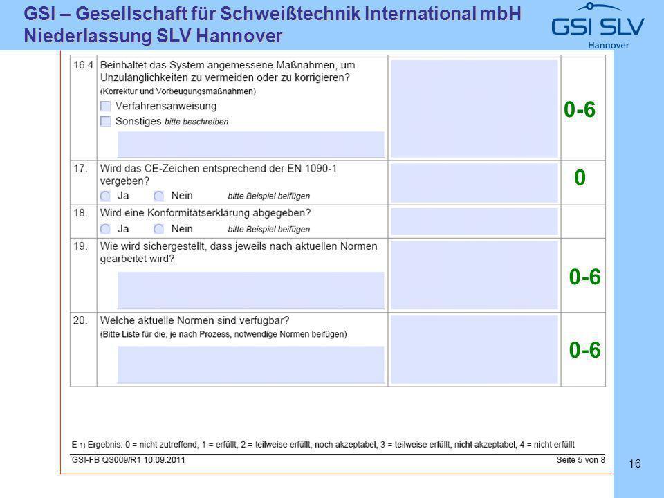 SLVHannoverSLVHannover GSI – Gesellschaft für Schweißtechnik International mbH Niederlassung SLV Hannover 16 0-6 0
