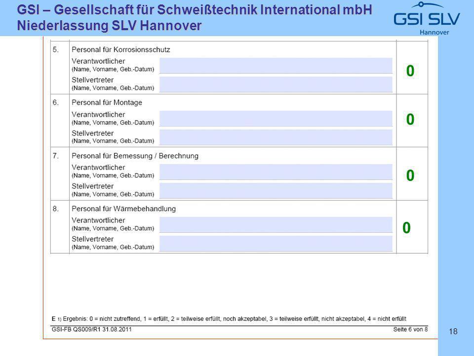 SLVHannoverSLVHannover GSI – Gesellschaft für Schweißtechnik International mbH Niederlassung SLV Hannover 18 0 0 0 0