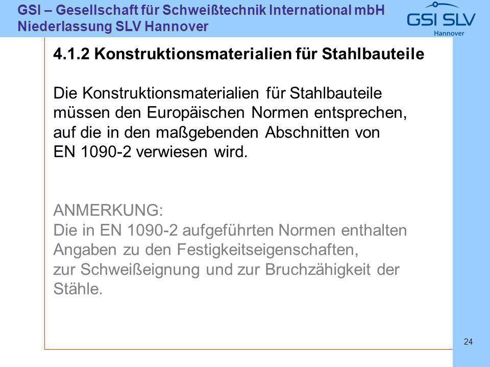 SLVHannoverSLVHannover GSI – Gesellschaft für Schweißtechnik International mbH Niederlassung SLV Hannover 24 4.1.2 Konstruktionsmaterialien für Stahlb