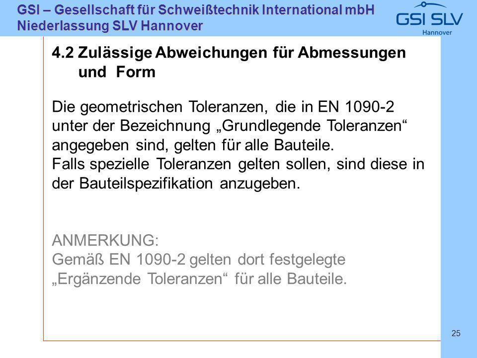 SLVHannoverSLVHannover GSI – Gesellschaft für Schweißtechnik International mbH Niederlassung SLV Hannover 25 4.2 Zulässige Abweichungen für Abmessunge