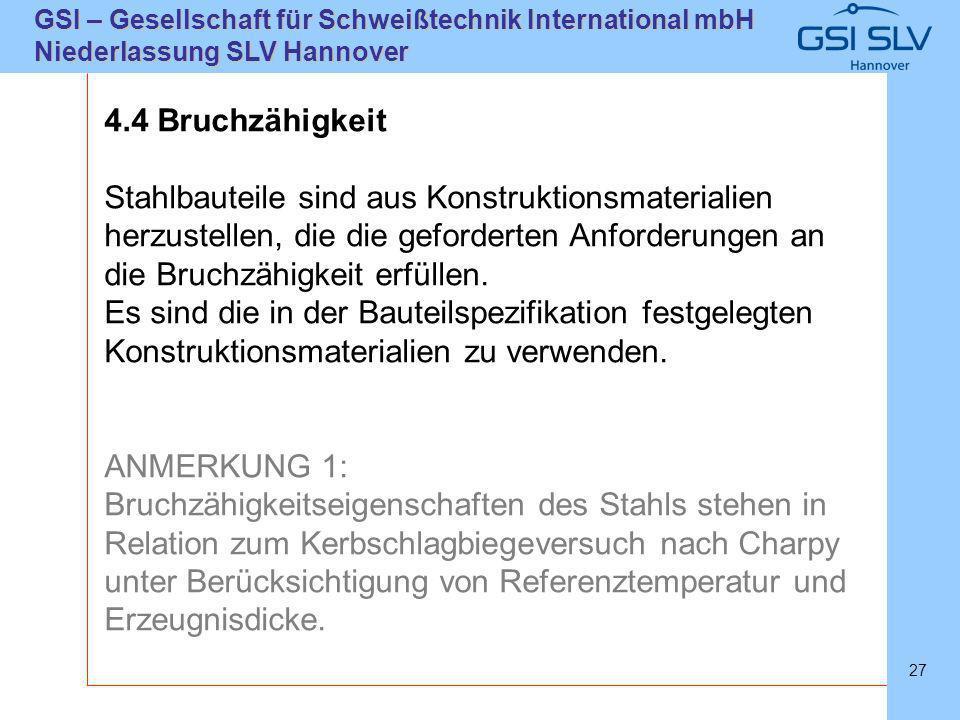 SLVHannoverSLVHannover GSI – Gesellschaft für Schweißtechnik International mbH Niederlassung SLV Hannover 27 4.4 Bruchzähigkeit Stahlbauteile sind aus