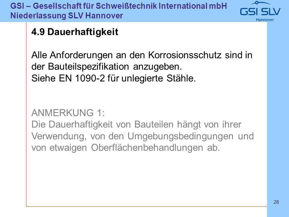 SLVHannoverSLVHannover GSI – Gesellschaft für Schweißtechnik International mbH Niederlassung SLV Hannover 28 4.9 Dauerhaftigkeit Alle Anforderungen an