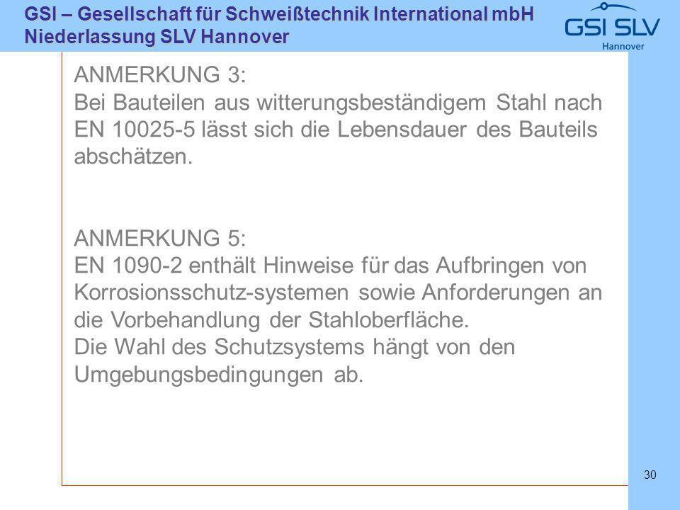 SLVHannoverSLVHannover GSI – Gesellschaft für Schweißtechnik International mbH Niederlassung SLV Hannover 30 ANMERKUNG 3: Bei Bauteilen aus witterungs