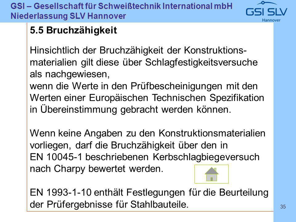 SLVHannoverSLVHannover GSI – Gesellschaft für Schweißtechnik International mbH Niederlassung SLV Hannover 35 5.5 Bruchzähigkeit Hinsichtlich der Bruch