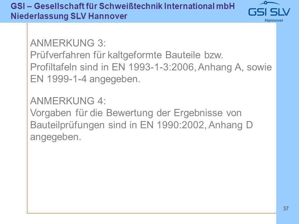 SLVHannoverSLVHannover GSI – Gesellschaft für Schweißtechnik International mbH Niederlassung SLV Hannover 37 ANMERKUNG 3: Prüfverfahren für kaltgeform