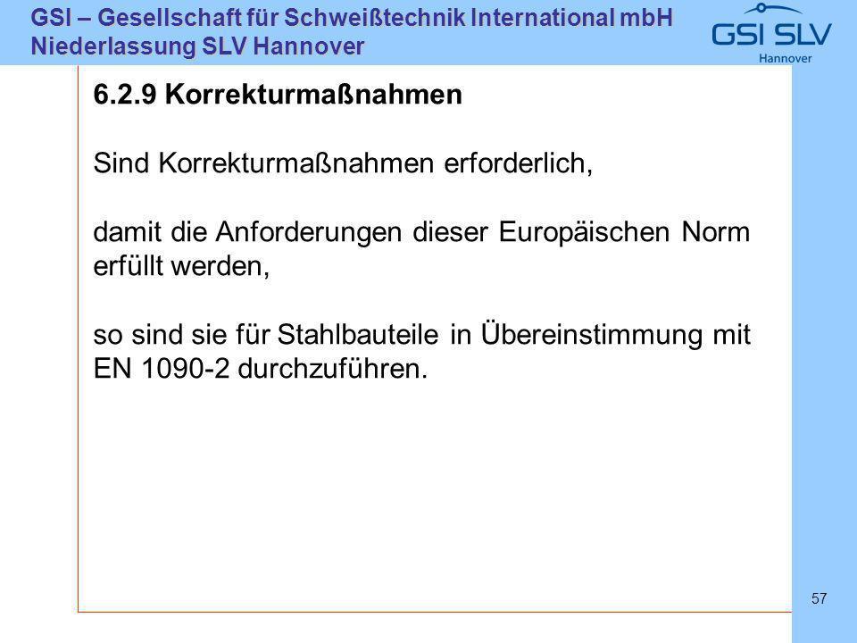 SLVHannoverSLVHannover GSI – Gesellschaft für Schweißtechnik International mbH Niederlassung SLV Hannover 57 6.2.9 Korrekturmaßnahmen Sind Korrekturma