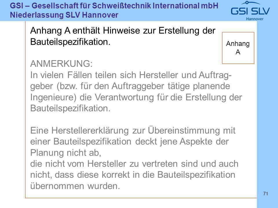 SLVHannoverSLVHannover GSI – Gesellschaft für Schweißtechnik International mbH Niederlassung SLV Hannover 71 Anhang A enthält Hinweise zur Erstellung