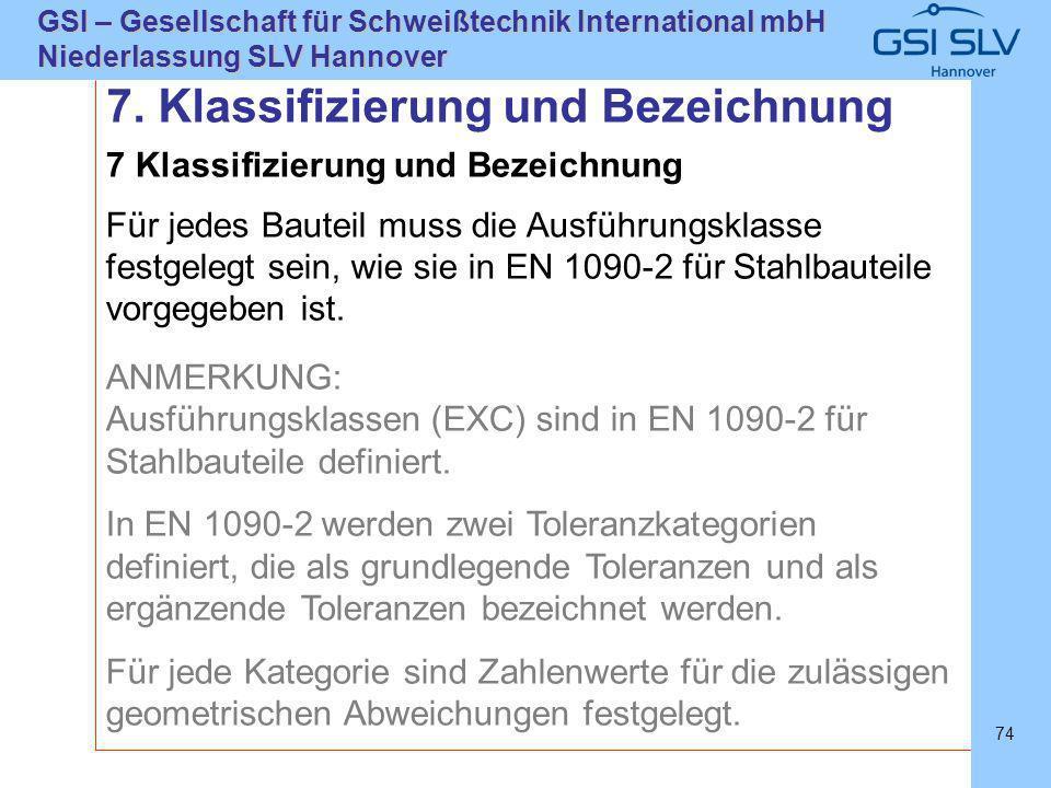 SLVHannoverSLVHannover GSI – Gesellschaft für Schweißtechnik International mbH Niederlassung SLV Hannover 74 7 Klassifizierung und Bezeichnung Für jed
