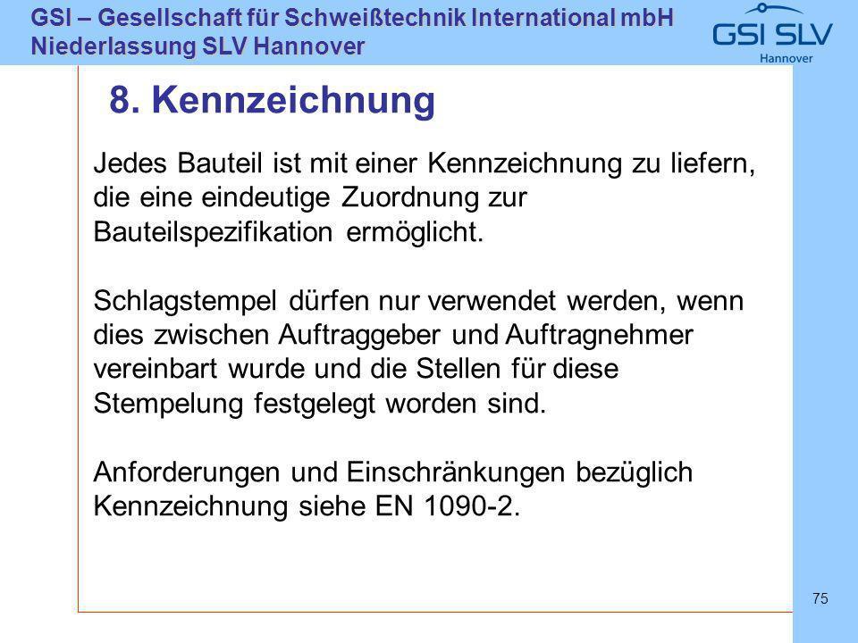SLVHannoverSLVHannover GSI – Gesellschaft für Schweißtechnik International mbH Niederlassung SLV Hannover 75 Jedes Bauteil ist mit einer Kennzeichnung