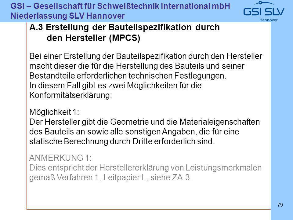 SLVHannoverSLVHannover GSI – Gesellschaft für Schweißtechnik International mbH Niederlassung SLV Hannover 79 A.3 Erstellung der Bauteilspezifikation d