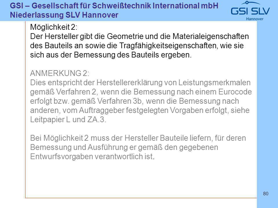 SLVHannoverSLVHannover GSI – Gesellschaft für Schweißtechnik International mbH Niederlassung SLV Hannover 80 Möglichkeit 2: Der Hersteller gibt die Ge