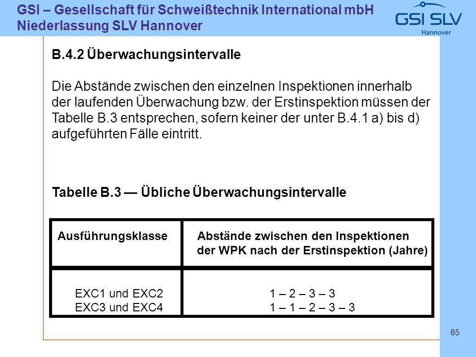 SLVHannoverSLVHannover GSI – Gesellschaft für Schweißtechnik International mbH Niederlassung SLV Hannover 85 B.4.2 Überwachungsintervalle Die Abstände