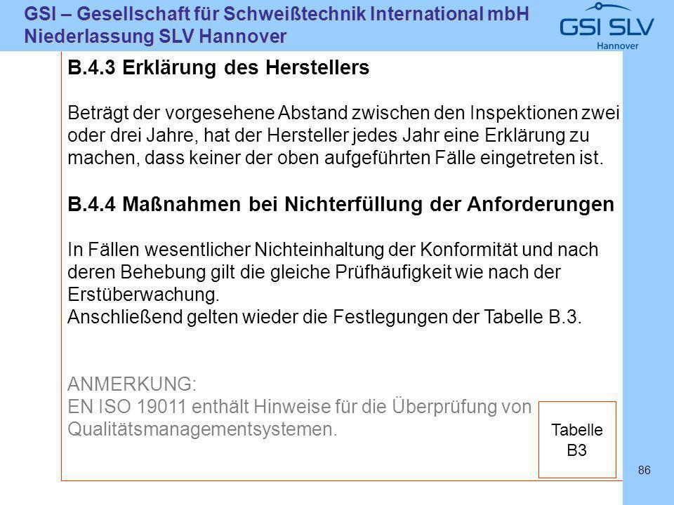 SLVHannoverSLVHannover GSI – Gesellschaft für Schweißtechnik International mbH Niederlassung SLV Hannover 86 B.4.3 Erklärung des Herstellers Beträgt d