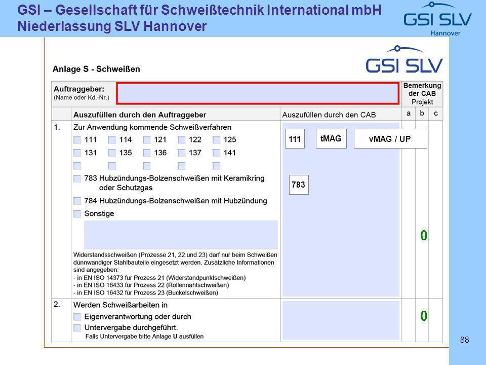 SLVHannoverSLVHannover GSI – Gesellschaft für Schweißtechnik International mbH Niederlassung SLV Hannover 88 111 tMAG vMAG / UP 783 0 0
