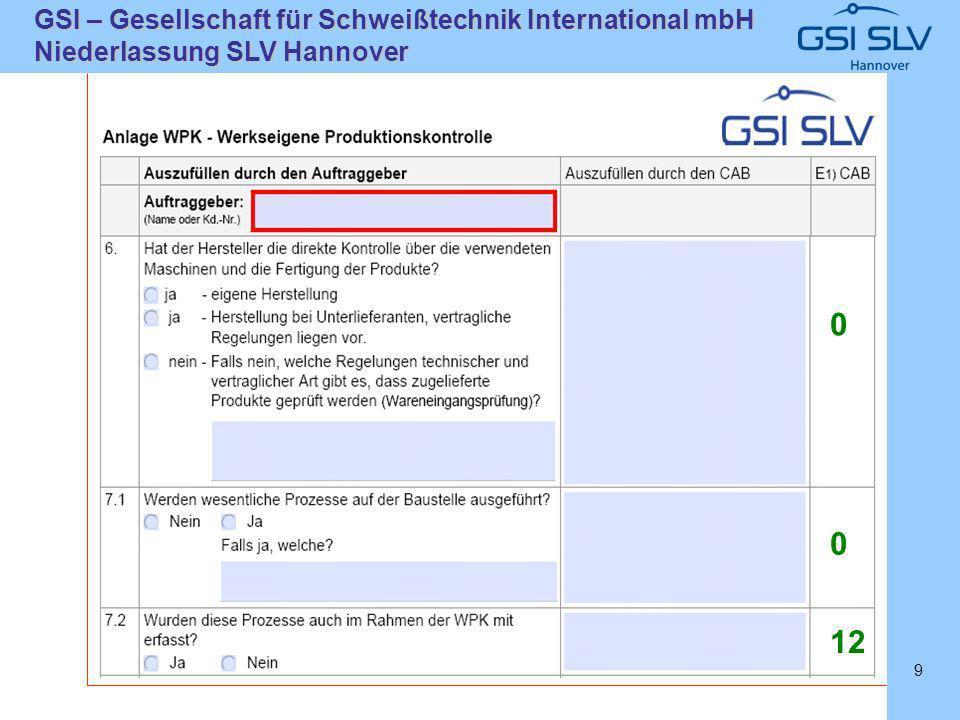 SLVHannoverSLVHannover GSI – Gesellschaft für Schweißtechnik International mbH Niederlassung SLV Hannover 9 0 0 12