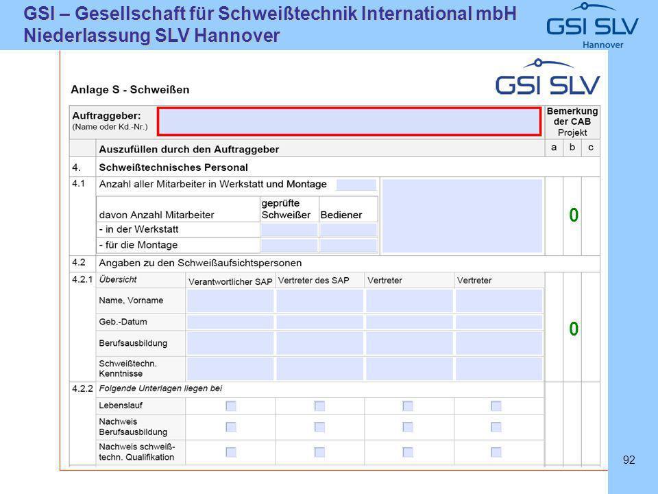 SLVHannoverSLVHannover GSI – Gesellschaft für Schweißtechnik International mbH Niederlassung SLV Hannover 92 0 0