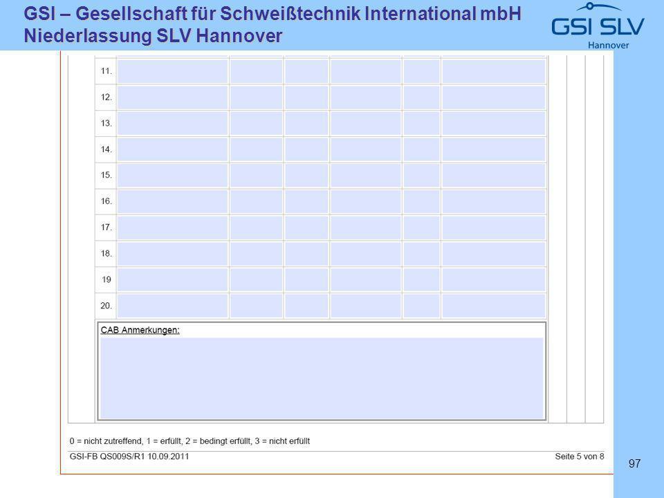 SLVHannoverSLVHannover GSI – Gesellschaft für Schweißtechnik International mbH Niederlassung SLV Hannover 97