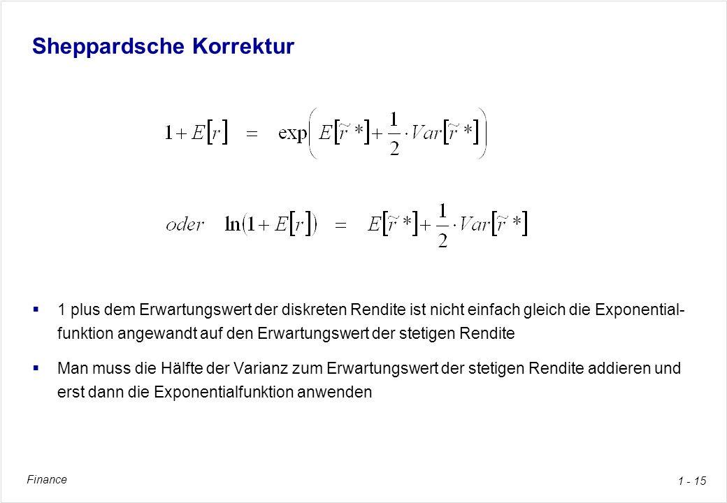 Finance 1 - 15 Sheppardsche Korrektur 1 plus dem Erwartungswert der diskreten Rendite ist nicht einfach gleich die Exponential- funktion angewandt auf