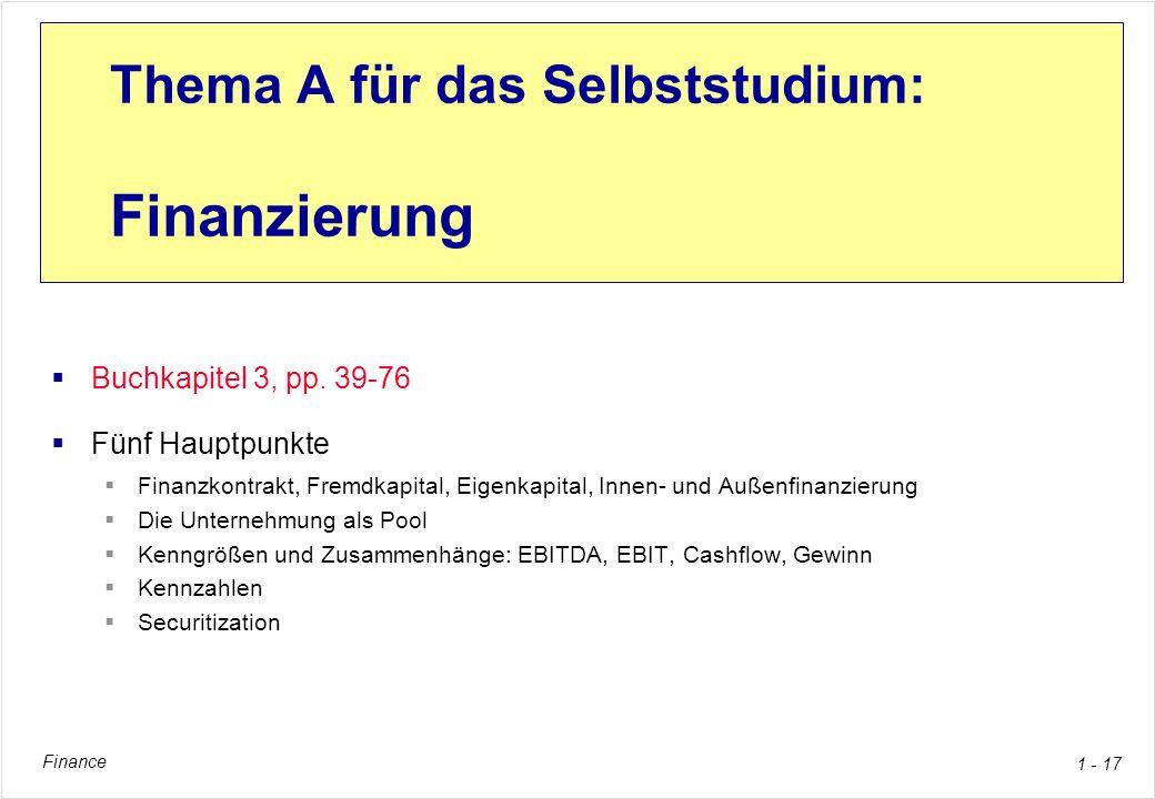 Finance 1 - 17 Thema A für das Selbststudium: Finanzierung Buchkapitel 3, pp. 39-76 Fünf Hauptpunkte Finanzkontrakt, Fremdkapital, Eigenkapital, Innen