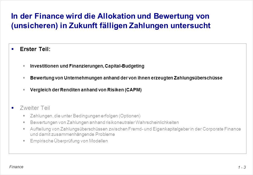 Finance 1 - 54 Herleitung des CAPM aus dem Einfaktor-Modell Dies ist das Capital Asset Pricing Model (CAPM), Formel (7-25), p.217 Das CAPM gilt für alle Einzelanlagen Es erlaubt, die Renditeerwartung beziehungsweise die Risikoprämie des Marktindexes in die gesuchte Renditeerwartung oder in die Risikoprämie einer Einzelinvestition umzurechnen wie in einer Äquivalenzziffer-Kalkulation Das CAPM sagt aus, dass die Risikoprämie einer Einzelanlage das beta-fache der Risikoprämie des Marktindexes ist