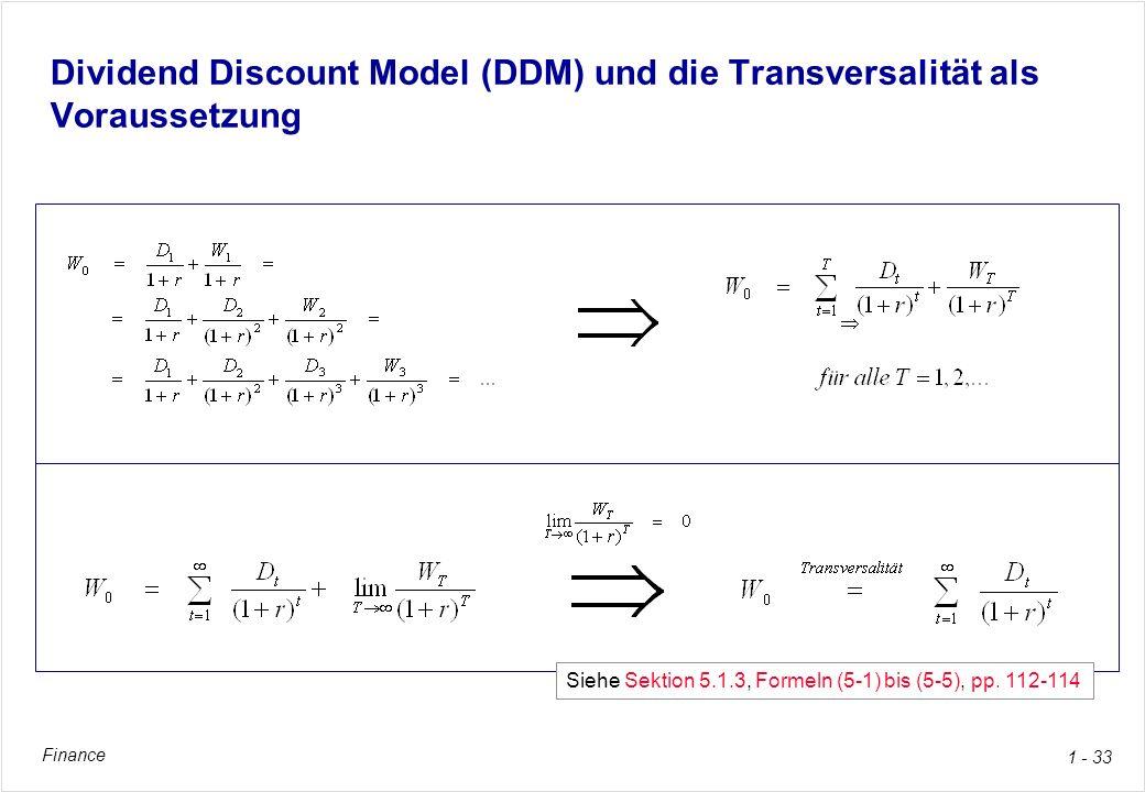 Finance 1 - 33 Dividend Discount Model (DDM) und die Transversalität als Voraussetzung Siehe Sektion 5.1.3, Formeln (5-1) bis (5-5), pp. 112-114