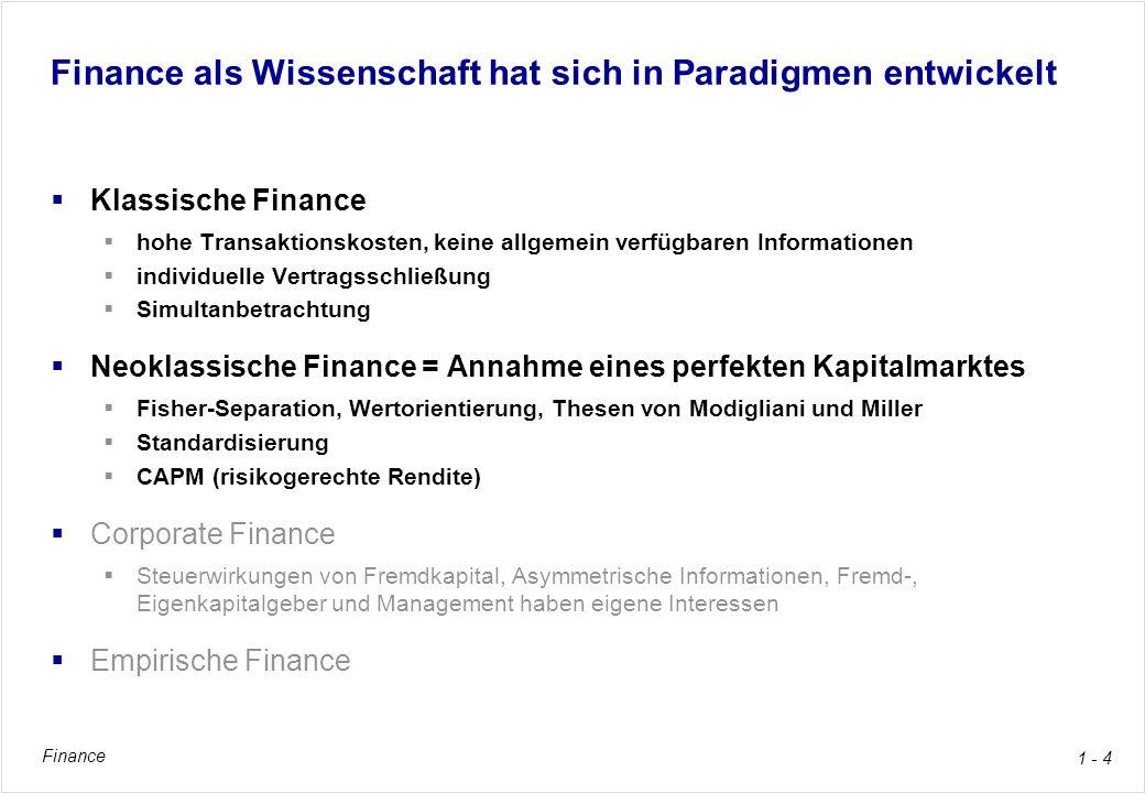 Finance 1 - 4 Finance als Wissenschaft hat sich in Paradigmen entwickelt Klassische Finance hohe Transaktionskosten, keine allgemein verfügbaren Infor