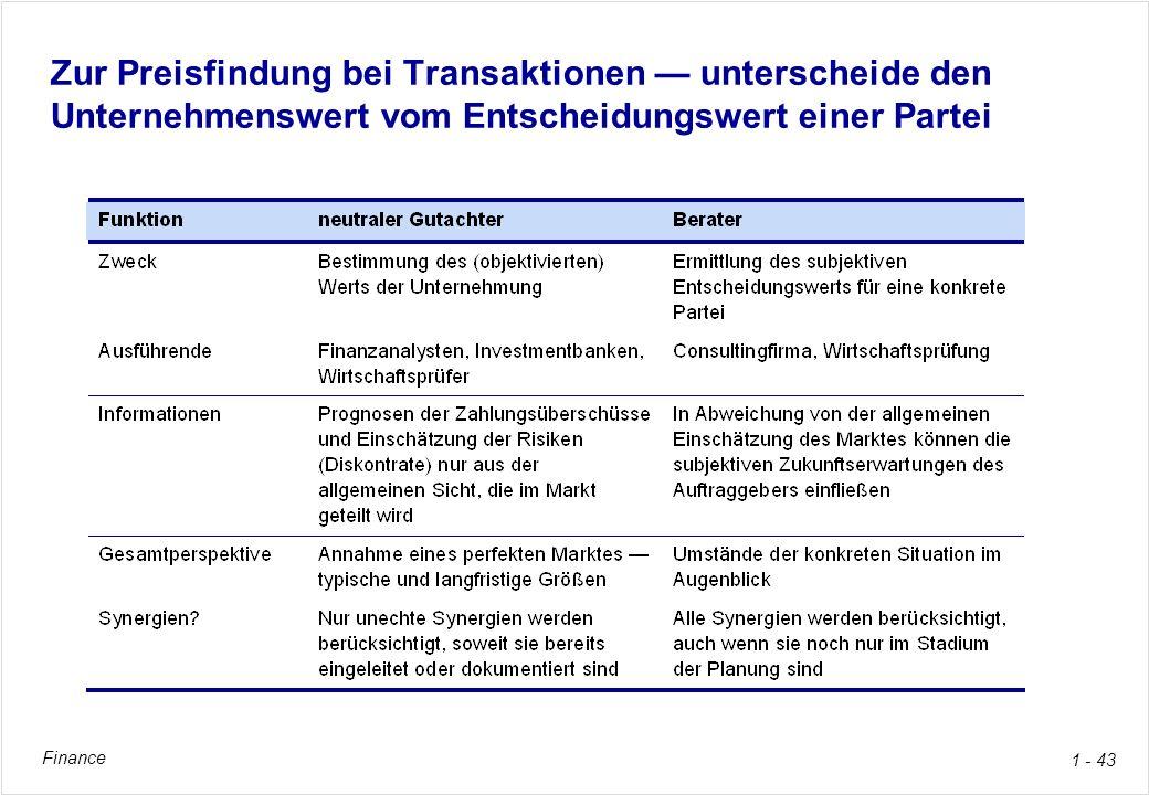 Finance 1 - 43 Zur Preisfindung bei Transaktionen unterscheide den Unternehmenswert vom Entscheidungswert einer Partei