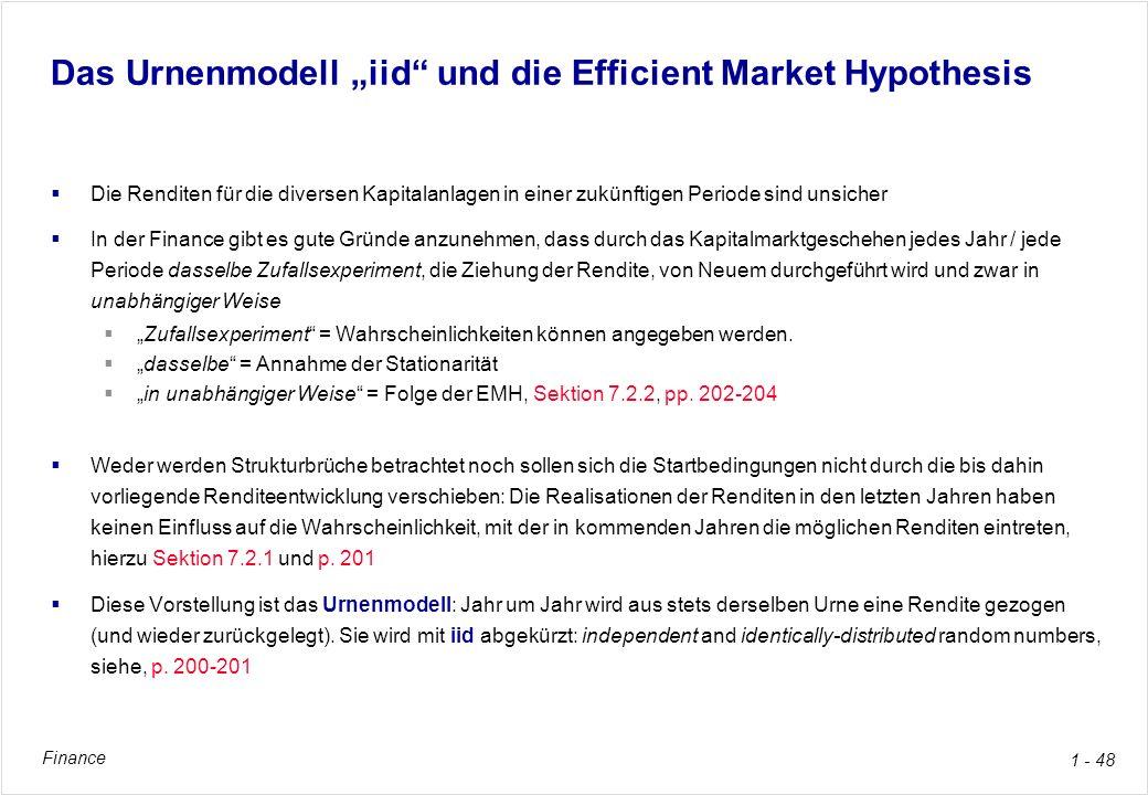 Finance 1 - 48 Das Urnenmodell iid und die Efficient Market Hypothesis Die Renditen für die diversen Kapitalanlagen in einer zukünftigen Periode sind