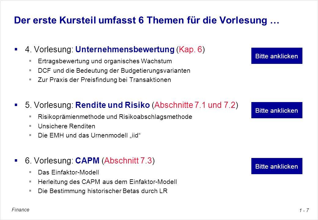 Finance 1 - 38 4.Vorlesungsthema: Unternehmensbewertung Buchkapitel 6, pp.