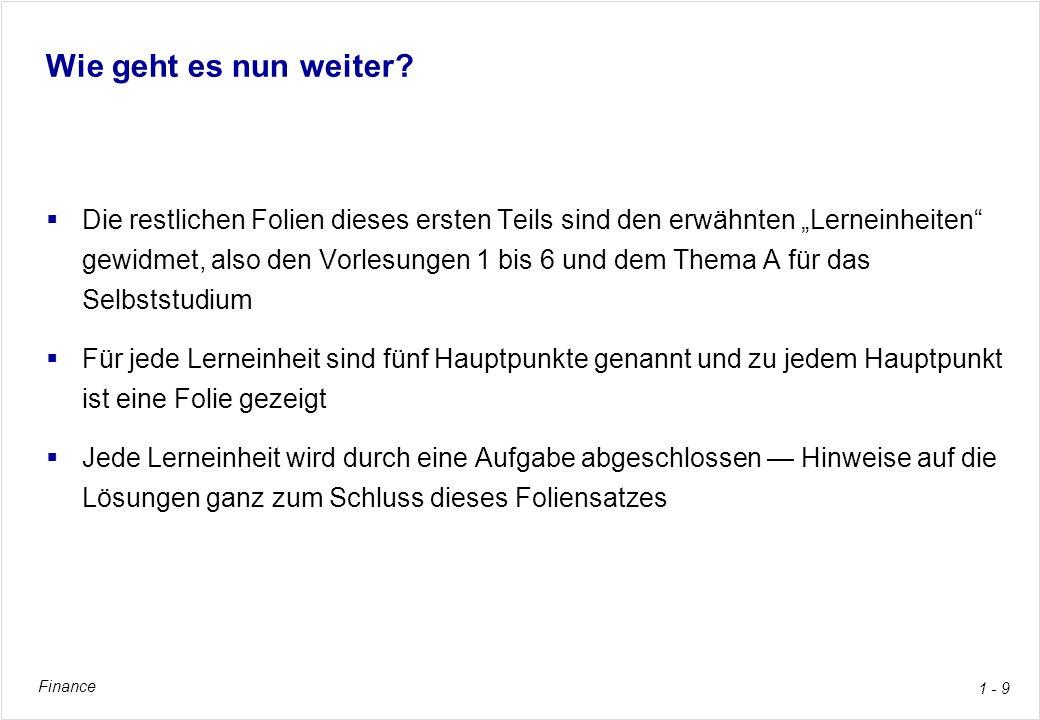 Finance 1 - 10 1.Vorlesung: Investitionsrechnung Buchkapitel 2, pp.