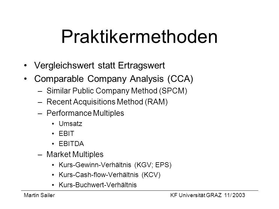 Martin SailerKF Universität GRAZ 11/ 2003 Praktikermethoden Vergleichswert statt Ertragswert Comparable Company Analysis (CCA) –Similar Public Company