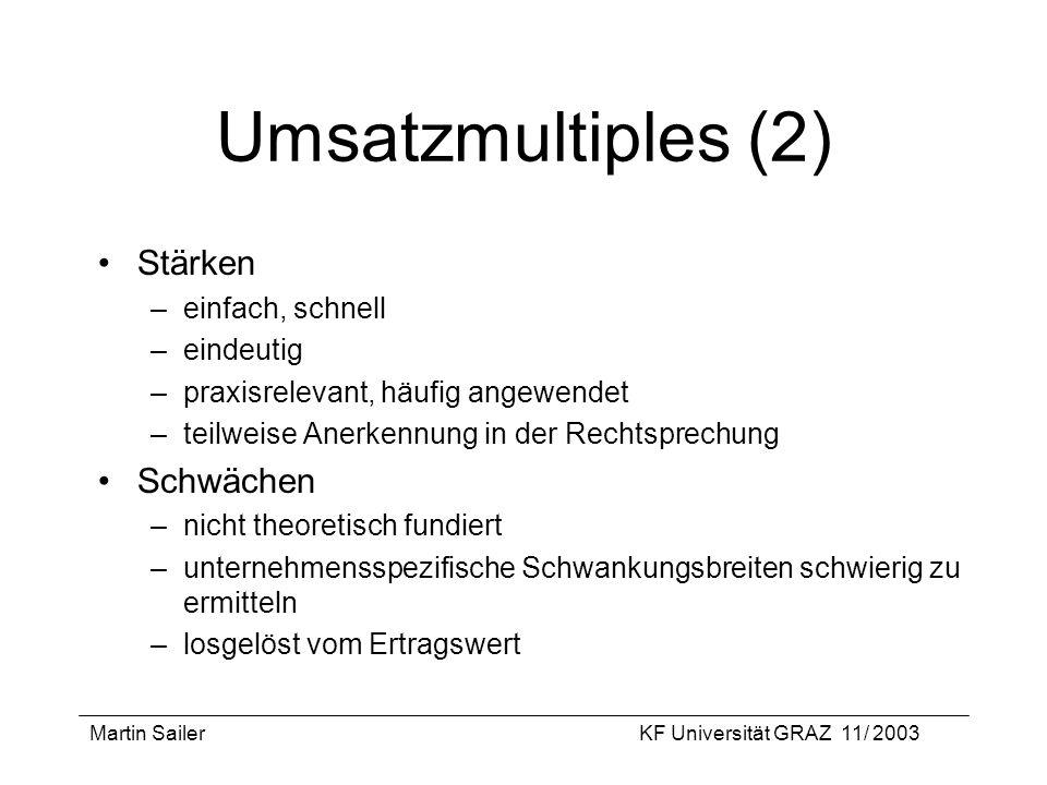 Martin SailerKF Universität GRAZ 11/ 2003 Umsatzmultiples (2) Stärken –einfach, schnell –eindeutig –praxisrelevant, häufig angewendet –teilweise Anerk