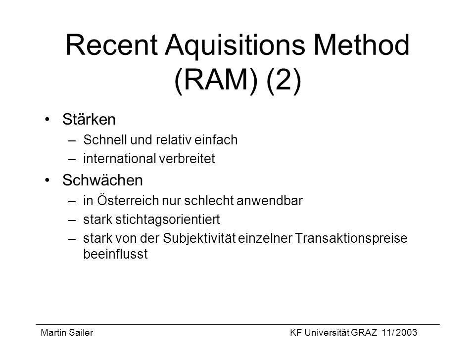 Martin SailerKF Universität GRAZ 11/ 2003 Recent Aquisitions Method (RAM) (2) Stärken –Schnell und relativ einfach –international verbreitet Schwächen