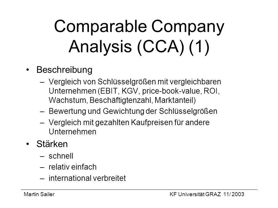 Martin SailerKF Universität GRAZ 11/ 2003 Comparable Company Analysis (CCA) (1) Beschreibung –Vergleich von Schlüsselgrößen mit vergleichbaren Unterne