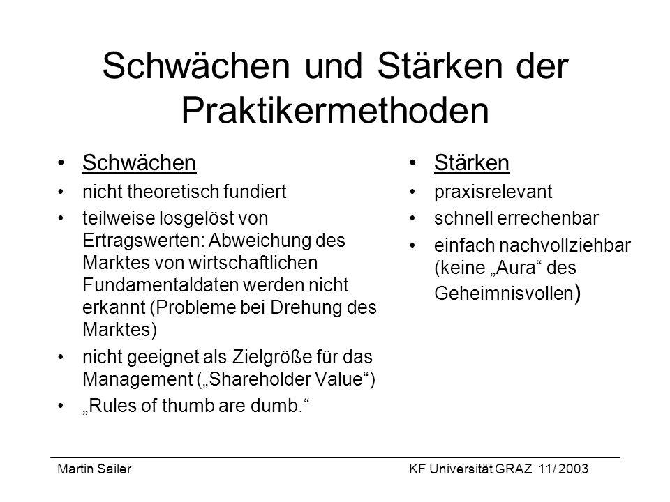 Martin SailerKF Universität GRAZ 11/ 2003 Schwächen und Stärken der Praktikermethoden Schwächen nicht theoretisch fundiert teilweise losgelöst von Ert