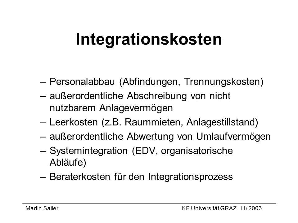 Martin SailerKF Universität GRAZ 11/ 2003 Integrationskosten –Personalabbau (Abfindungen, Trennungskosten) –außerordentliche Abschreibung von nicht nu