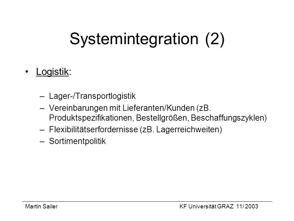 Martin SailerKF Universität GRAZ 11/ 2003 Systemintegration (2) Logistik: –Lager-/Transportlogistik –Vereinbarungen mit Lieferanten/Kunden (zB. Produk