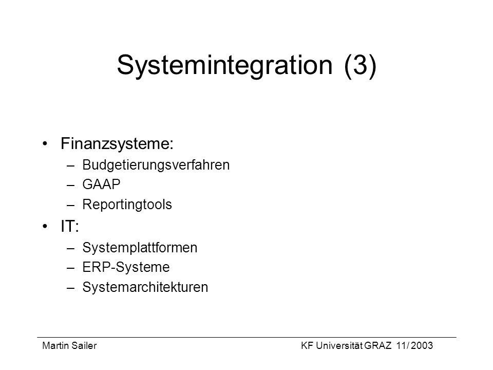 Martin SailerKF Universität GRAZ 11/ 2003 Systemintegration (3) Finanzsysteme: –Budgetierungsverfahren –GAAP –Reportingtools IT: –Systemplattformen –E
