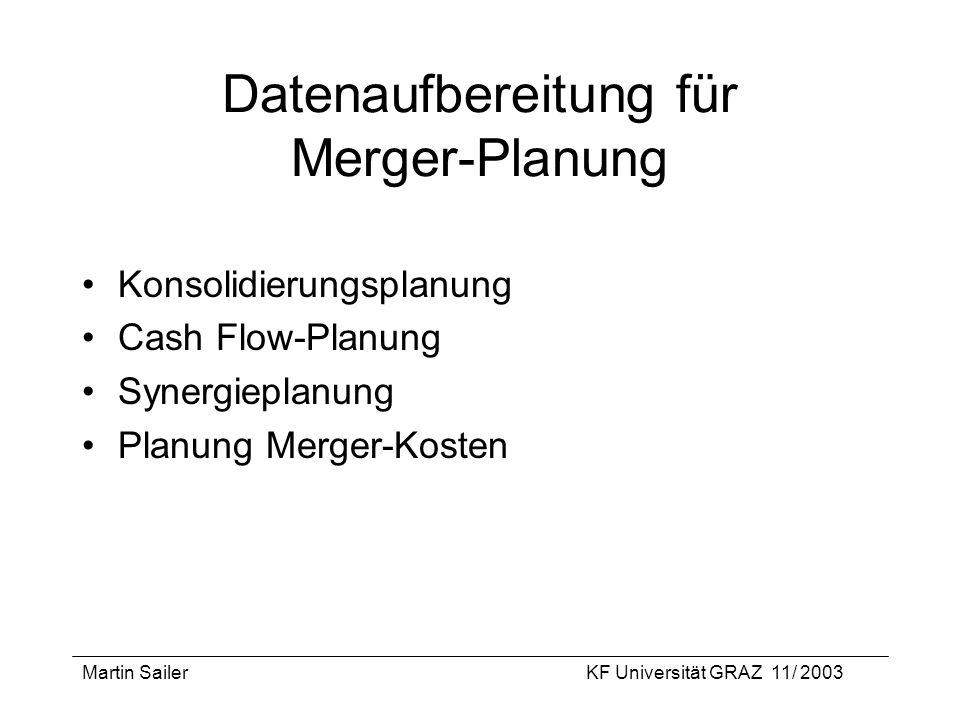 Martin SailerKF Universität GRAZ 11/ 2003 Datenaufbereitung für Merger-Planung Konsolidierungsplanung Cash Flow-Planung Synergieplanung Planung Merger