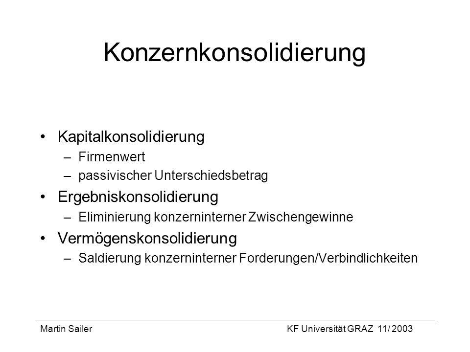 Martin SailerKF Universität GRAZ 11/ 2003 Konzernkonsolidierung Kapitalkonsolidierung –Firmenwert –passivischer Unterschiedsbetrag Ergebniskonsolidier