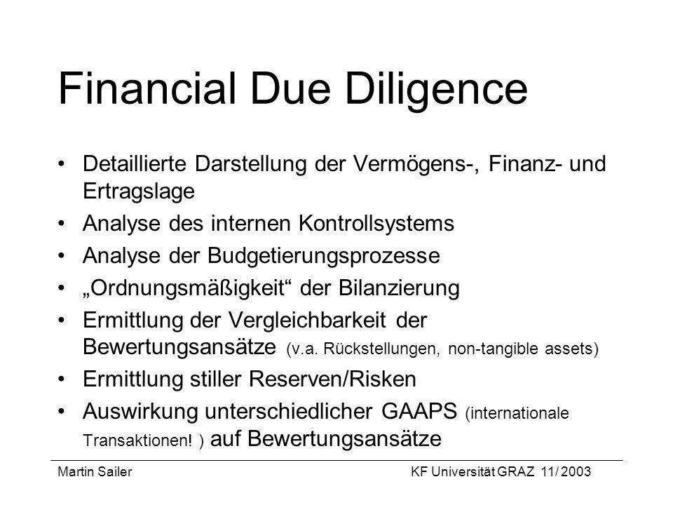 Martin SailerKF Universität GRAZ 11/ 2003 Financial Due Diligence Detaillierte Darstellung der Vermögens-, Finanz- und Ertragslage Analyse des interne