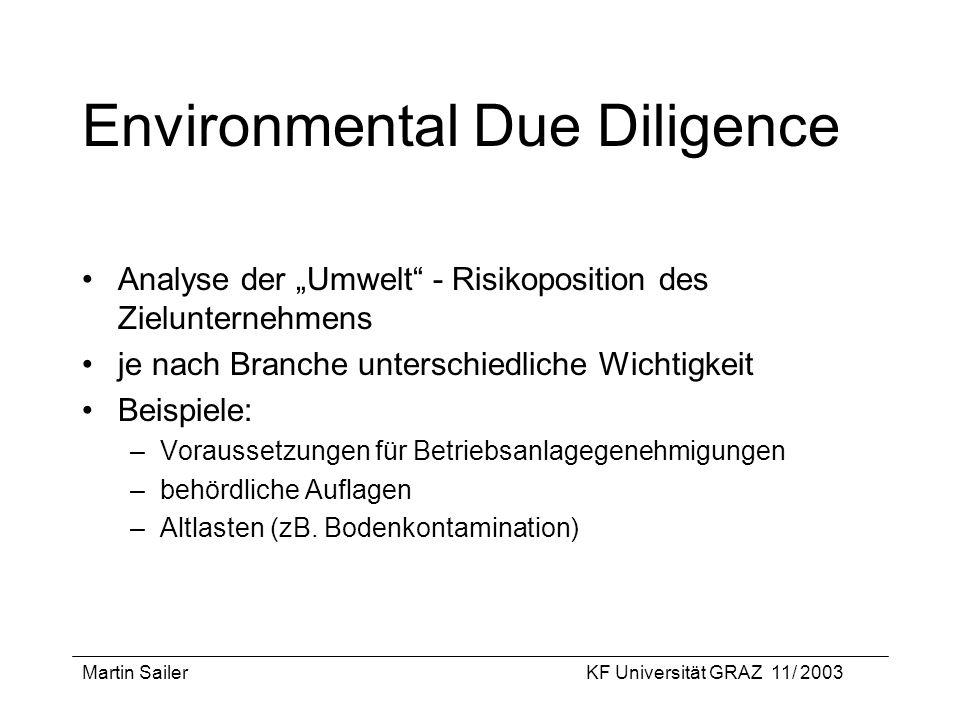 Martin SailerKF Universität GRAZ 11/ 2003 Environmental Due Diligence Analyse der Umwelt - Risikoposition des Zielunternehmens je nach Branche untersc