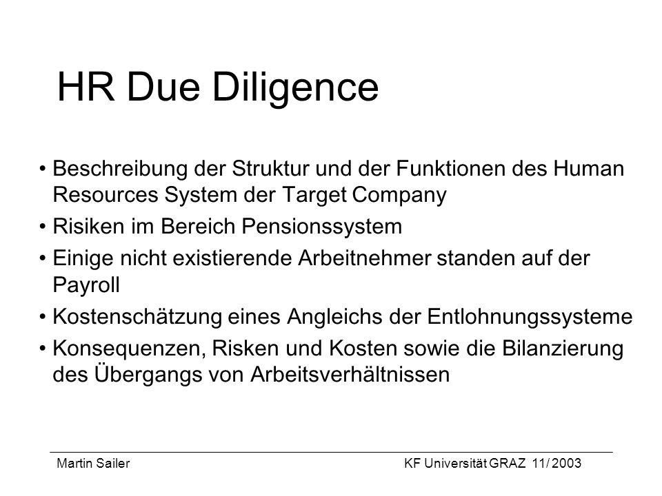 Martin SailerKF Universität GRAZ 11/ 2003 HR Due Diligence Beschreibung der Struktur und der Funktionen des Human Resources System der Target Company