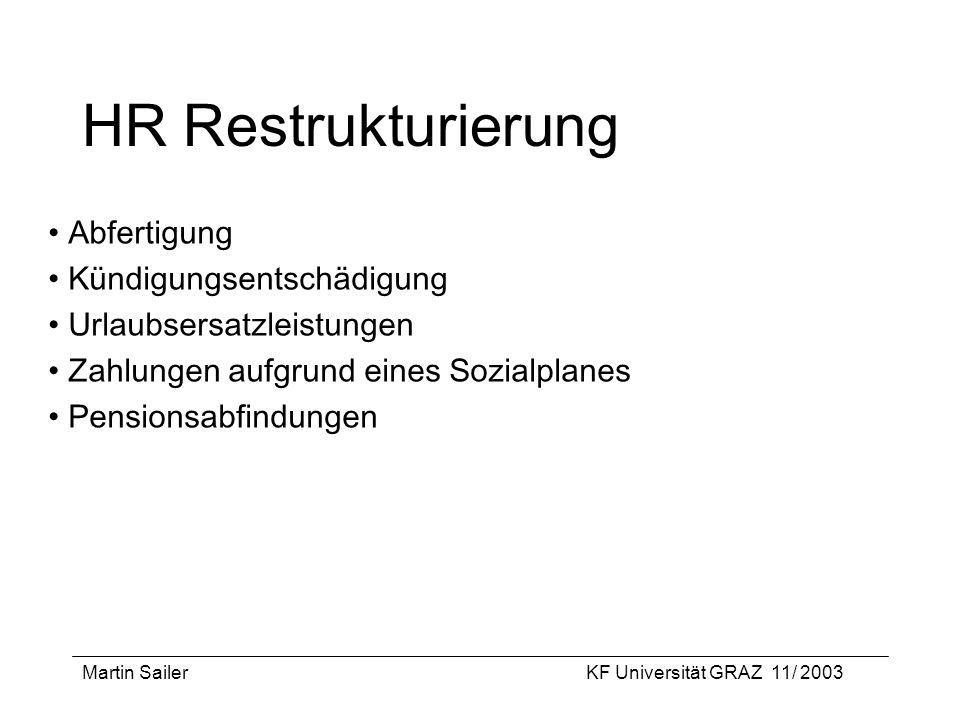 Martin SailerKF Universität GRAZ 11/ 2003 HR Restrukturierung Abfertigung Kündigungsentschädigung Urlaubsersatzleistungen Zahlungen aufgrund eines Soz