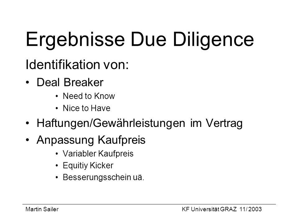 Martin SailerKF Universität GRAZ 11/ 2003 Ergebnisse Due Diligence Identifikation von: Deal Breaker Need to Know Nice to Have Haftungen/Gewährleistung