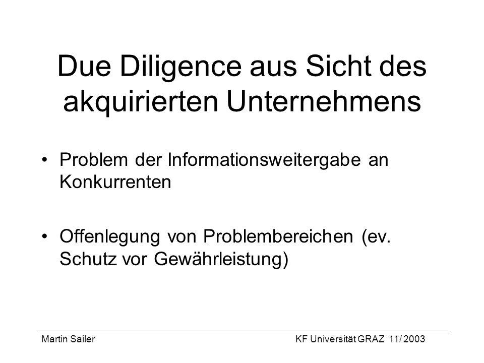 Martin SailerKF Universität GRAZ 11/ 2003 Due Diligence aus Sicht des akquirierten Unternehmens Problem der Informationsweitergabe an Konkurrenten Off